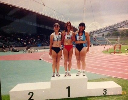 My competing at Athletics NSW Masters Championships 2003. My time was a wind affected 13.96. Note my female body post-transition and I finished 3rd to two cis-gender women